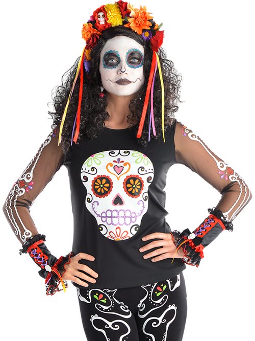 Day of the Dead Top - Adult Costume