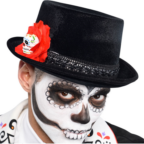 Day of the Dead Top Hat - Men's Halloween Hat - 13cm