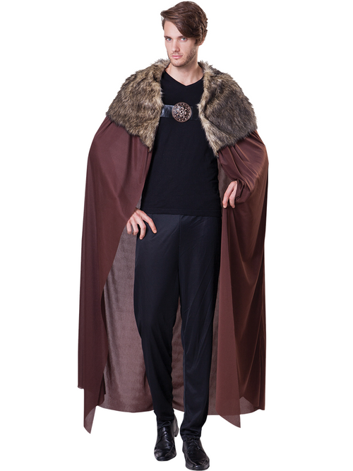 Deluxe Brown Fur Collared Cape - Costume