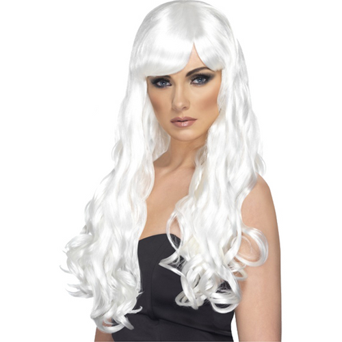 Desire Long Curly White Wig