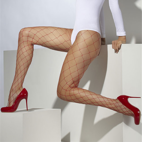 Diamond Netted Red Tights