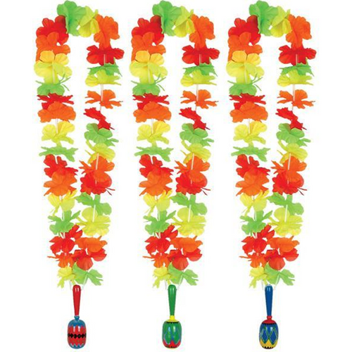 Flower Lei Garland with Wooden Maraca - Hawaiian