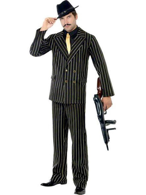 Gold Pinstripe Gangster Suit - Adult Costume