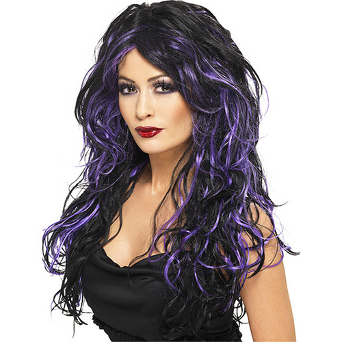 Gothic Bride Wig - Women's Black & Purple Halloween Wig