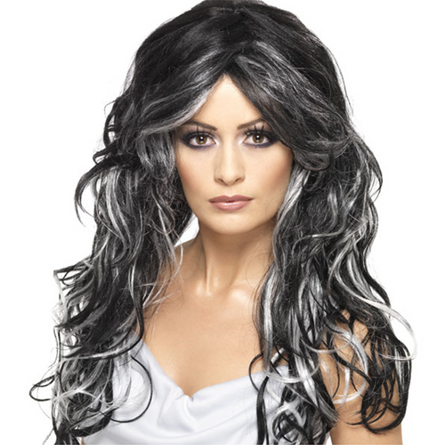 Gothic Bride Wig - Women's Grey & Black Halloween Wig