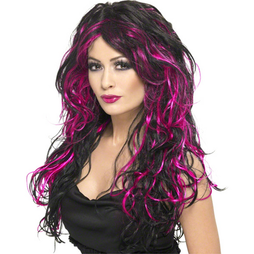 Gothic Bride Wig - Women's Pink & Black Halloween Wig