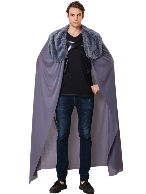 Grey Fur Collared Cape - Costume