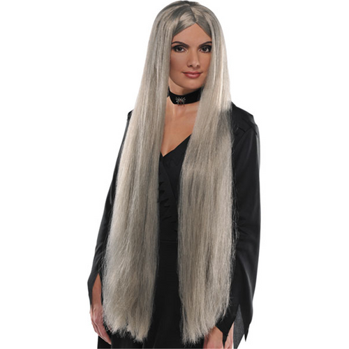 Classic Countess Witch Vampire Vampiress Long Black /& White Wig Extra Extra Long