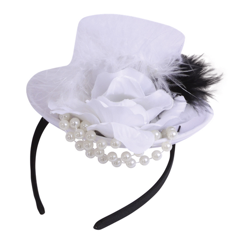 Mini Top Hat with Beads and Feathers