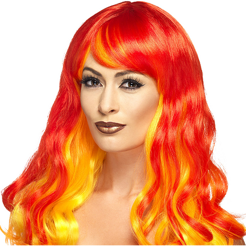 Ombre Witch Wig - Women's Red & Orange Halloween Wig
