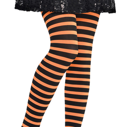 Orange & Black Striped Tights - Girl's Halloween Tights - Kids One Size