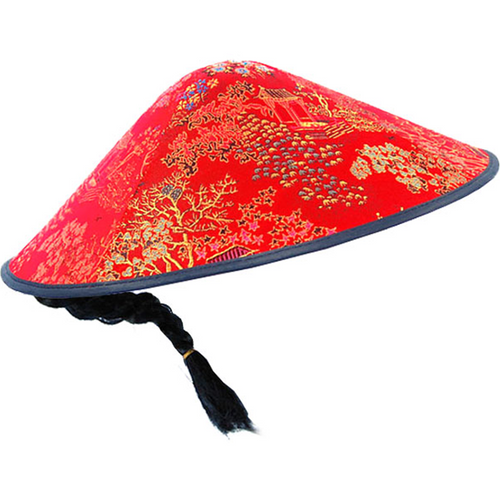 Oriental Fabric Coolie Hat - Chinese New Year