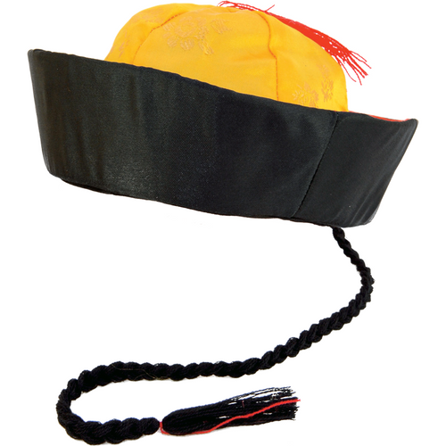 Oriental Mandarin Hat with Pigtail - Chinese New Year Hat