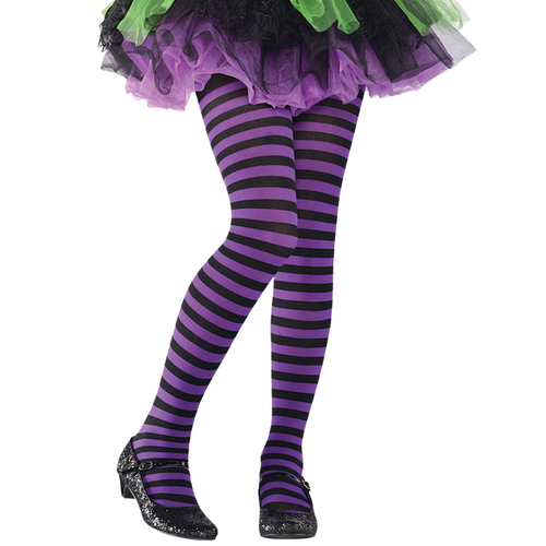 Purple & Black Stripe Tights - Girl's Halloween Tights - Kids One Size