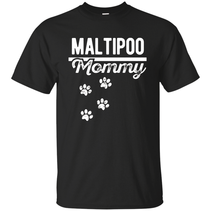 Maltipoo Mommy - Maltese Poodle Dog Lover Distressed T-Shirt