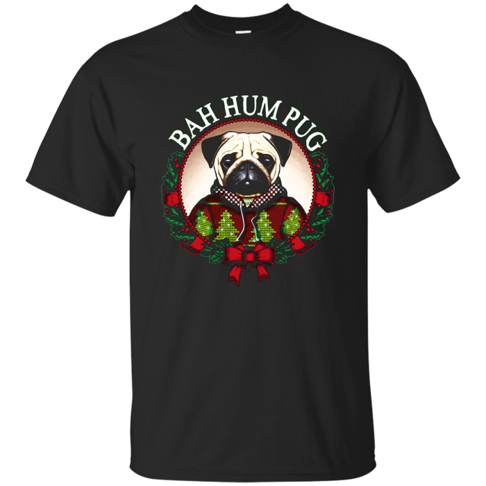 Bah Hum Pug T-Shirt Funny Christmas Pun Shirt for Pug Lovers