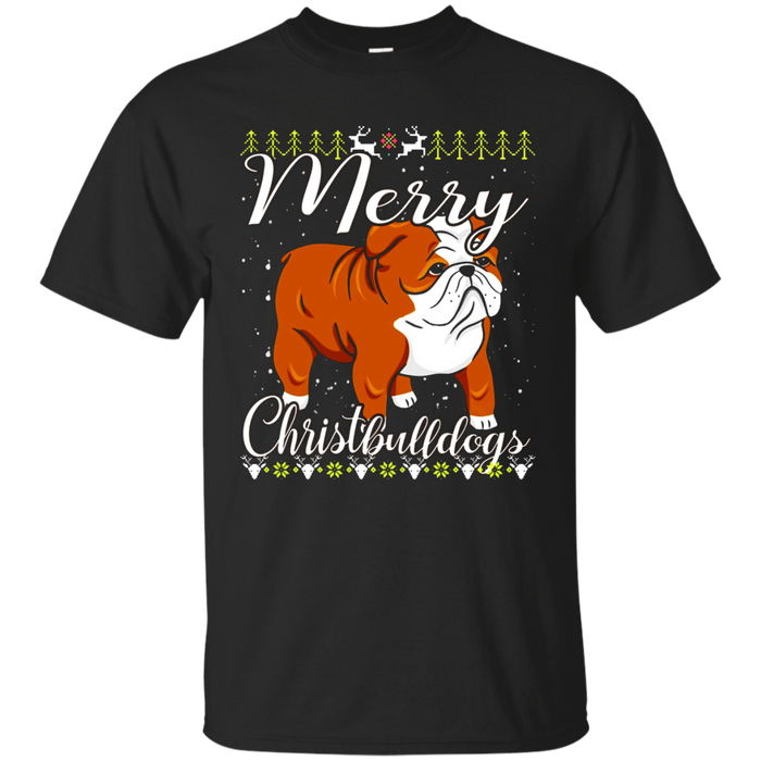 Merry Christbulldogs T-Shirt Bulldogs Pun Funny Christmas