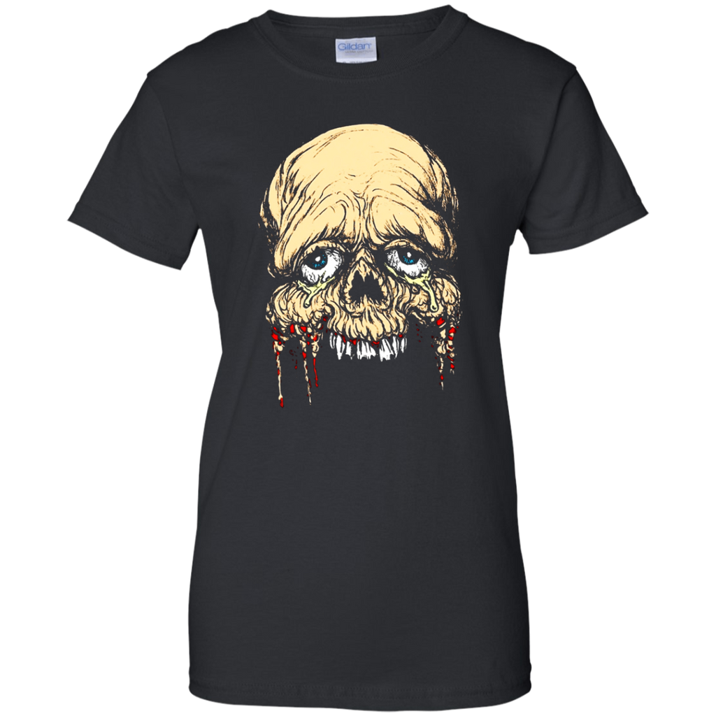 Half Face zombie skull Horror Art T shirt