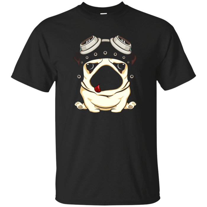 Funny Pug Dog Wearing Steampunk Aviator Helmet T-Shirt