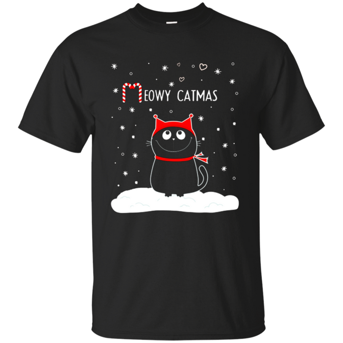Meowy Catmas Black Cat Hat Santa Cute Christmas Tshirt