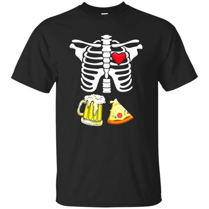Beer and pizza Pregnant Skeleton Halloween Shirt