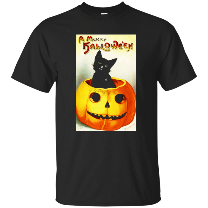 Black Cat Halloween Vintage T-Shirt Novelty Tee Shirt