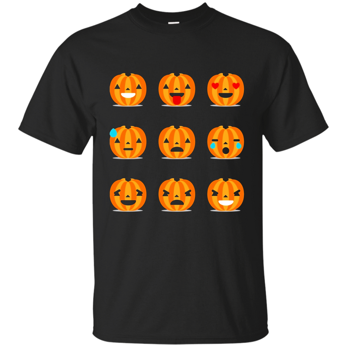9 Funny Smiley Pumpkin Emoji Halloween T-Shirt
