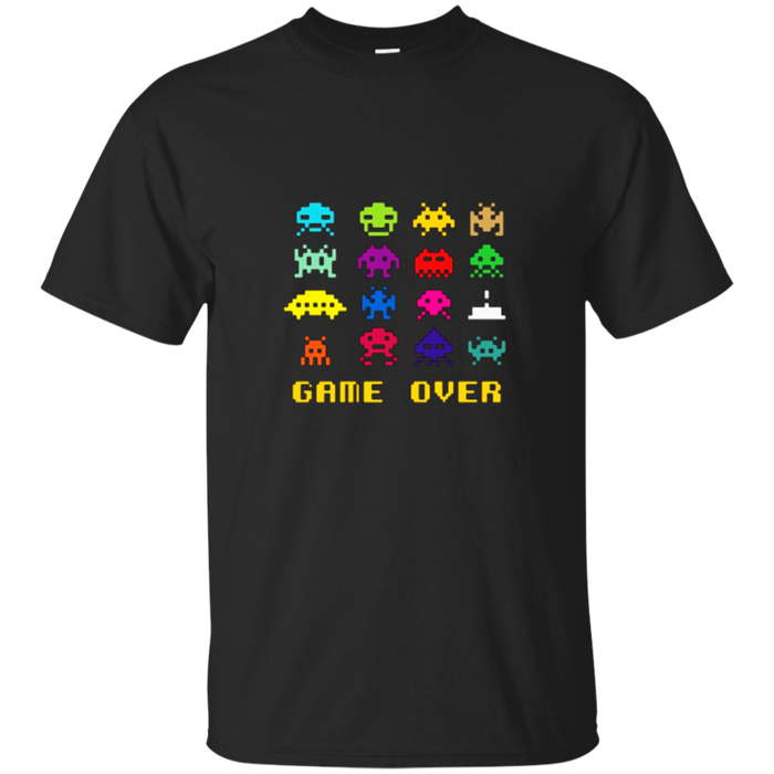 """Game Over"" retro alien invaders tshirt 80s 8-bit video game"