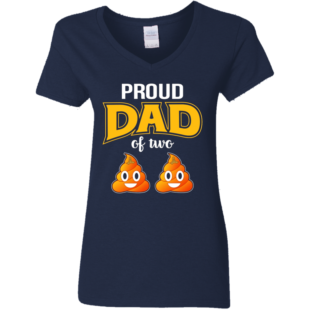 Mens Funny Proud Dad Of Two Poop Emoji Halloween Gift TShirt
