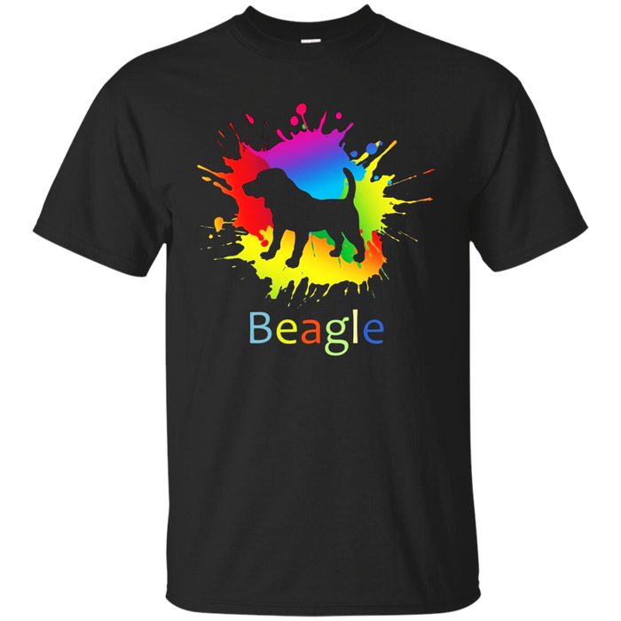 Water Paint Beagle Dog Graphic T-Shirt. Beagle Lover Gift