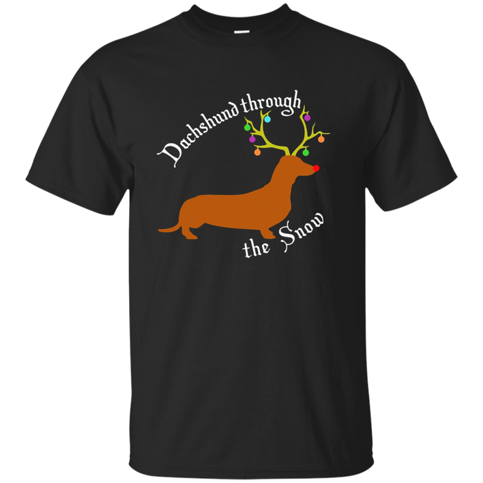 Dachshund Through The Snow Christmas Holiday Pun T-Shirt