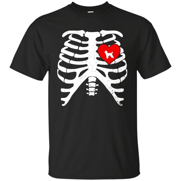 Skeleton Rib Cage Costume Halloween T-Shirt with POODLES