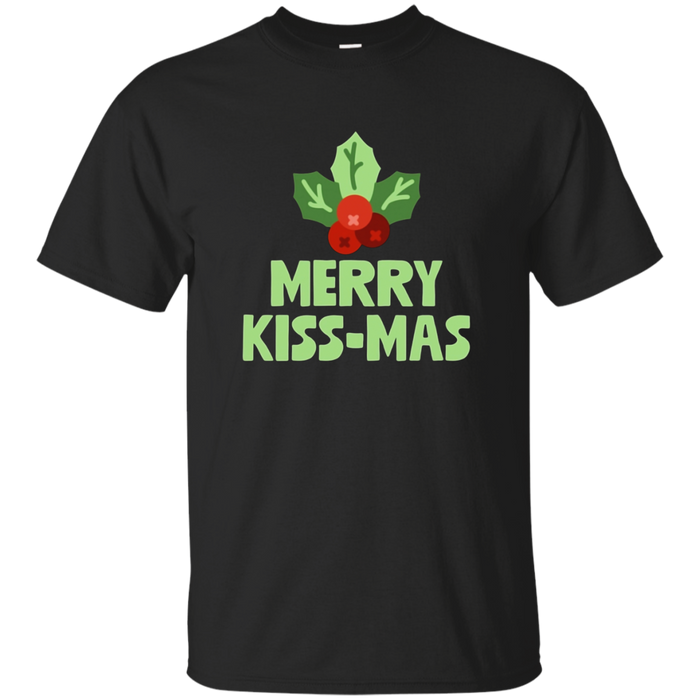 Merry Kiss-Mas With Mistletoe Christmas Holiday Pun T-Shirt