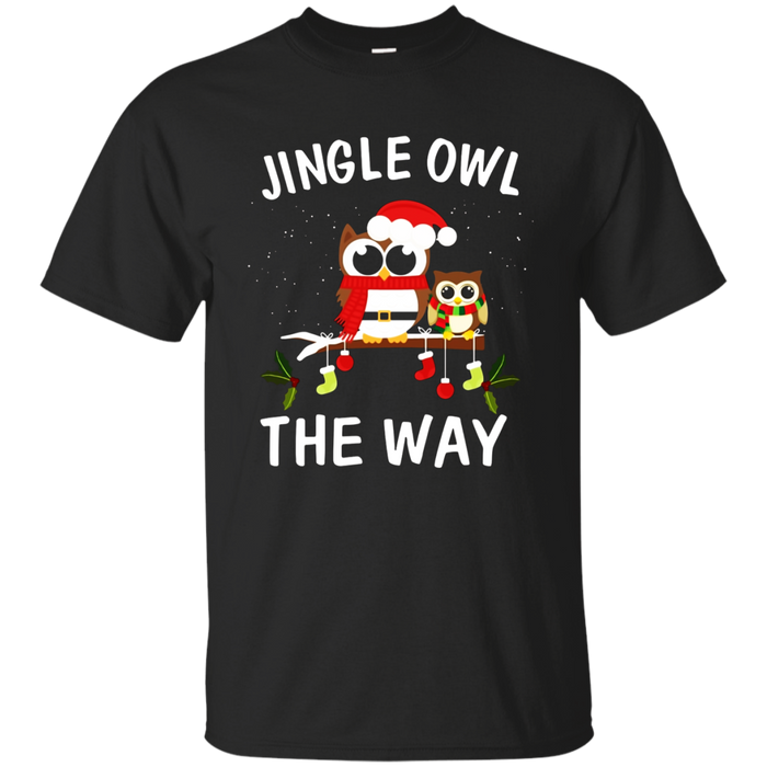 Jingle Owl the Way Funny Christmas T-shirt-Owl Christmas Tee