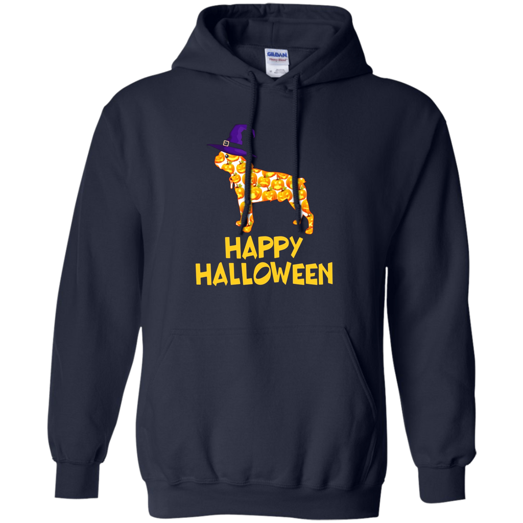 Boston Terrier Dog Pumpkin Witch Hat Happy Halloween T-Shirt