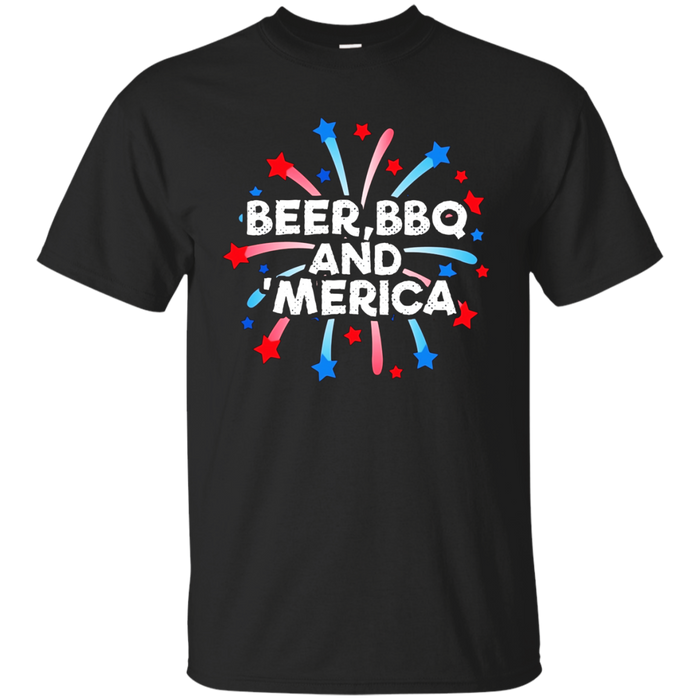 Beer BBQ And 'Merica Tshirt - Fourth of July Shirts
