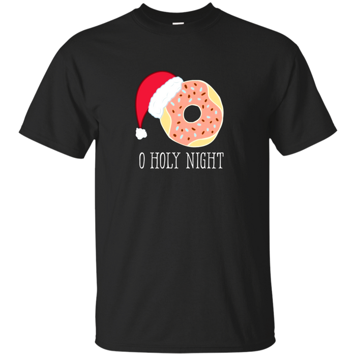 O Holy Night Funny Doughnut Santa Hat Christmas Pun T-Shirt