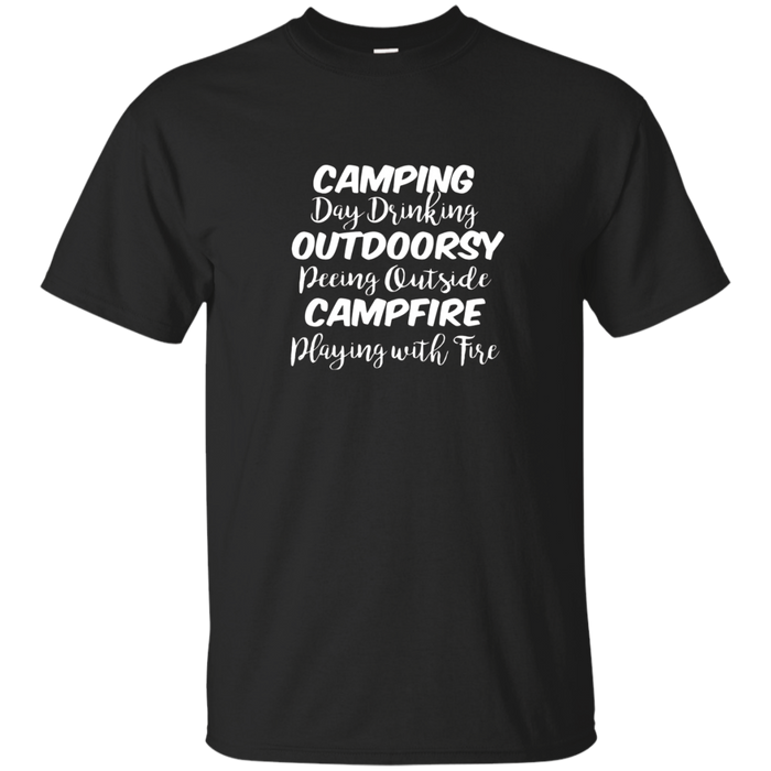 Camping, I mean day drinking... Funny outdoorsy tee
