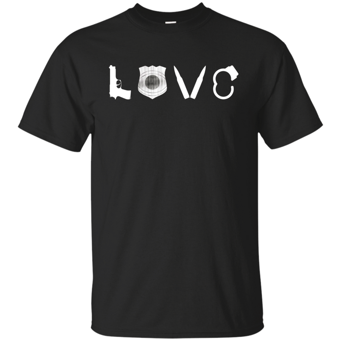 I Love Police Officers Cops Law Enforcement Gun T-Shirt