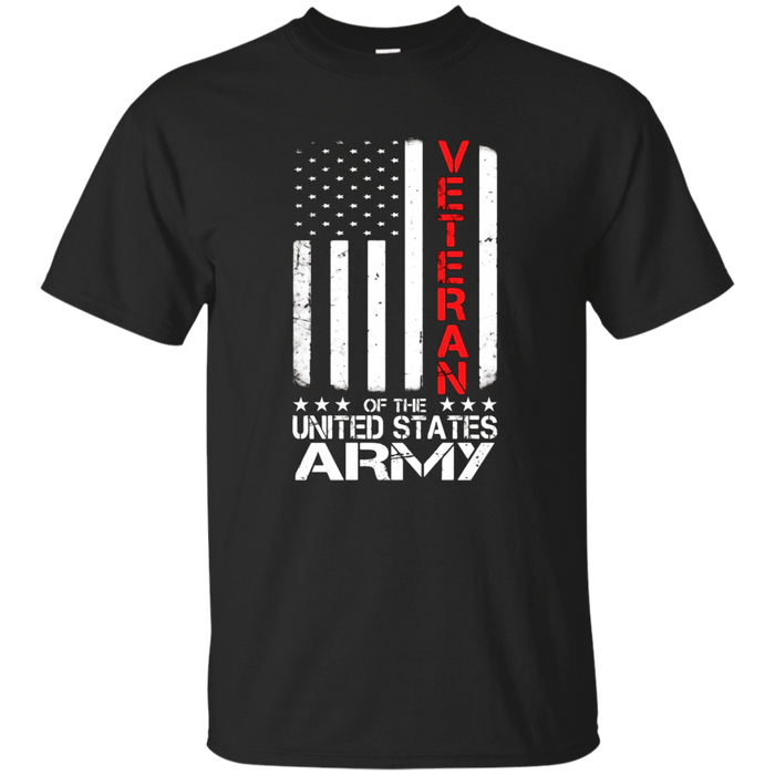 US American Flag T-shirt for U.S. Army Veterans Red Line