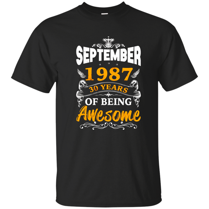 30th Birthday Awesome September 1987 T-shirt, Birthday Gift