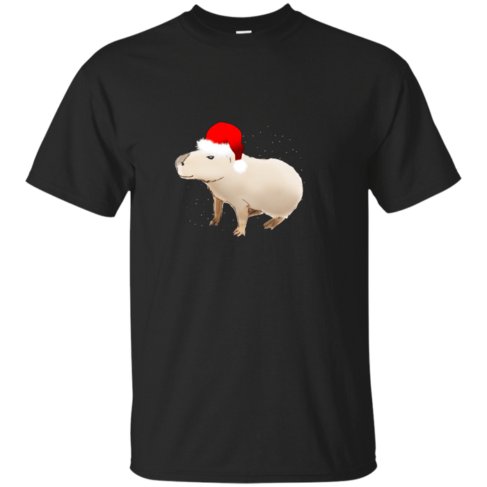 Capybara With Santa Hat Merry Christmas Holiday Pun T-Shirt