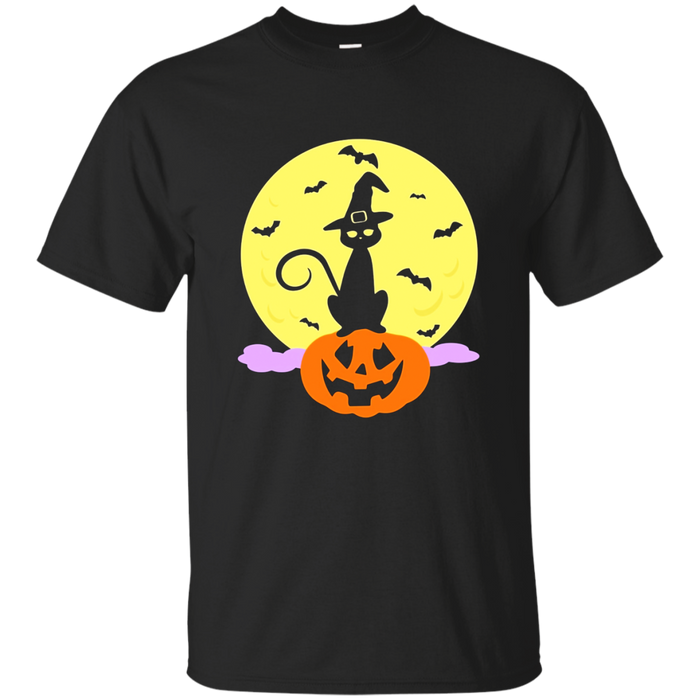 Funny Cat Halloween T-shirt Witch Hat Spooky Moon Pumpkin