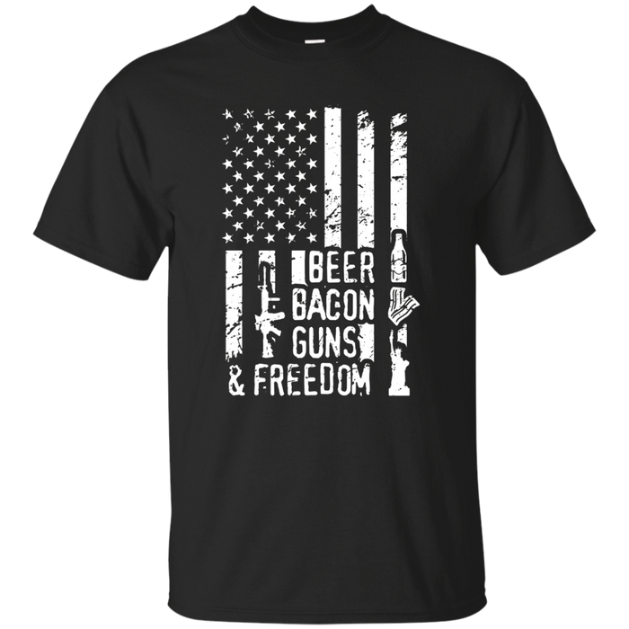 Beer Bacon Guns And Freedom Tee Shirt Patriot American Flag