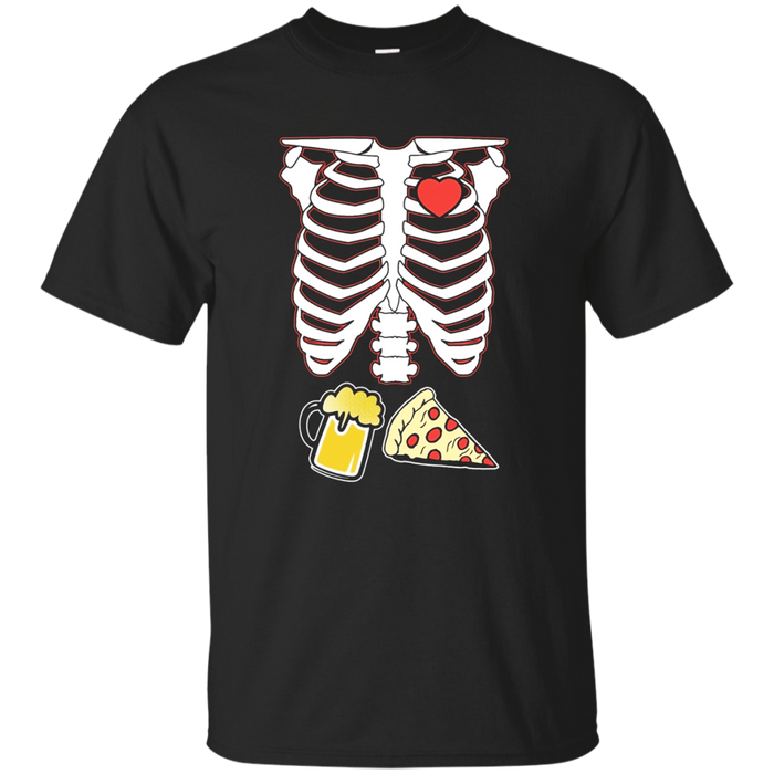 Funny Halloween Skeleton Pizza and Beer X-Ray T-Shirt