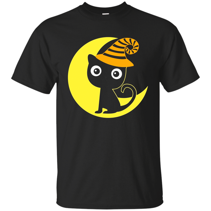Halloween black cat and moon T-shirt