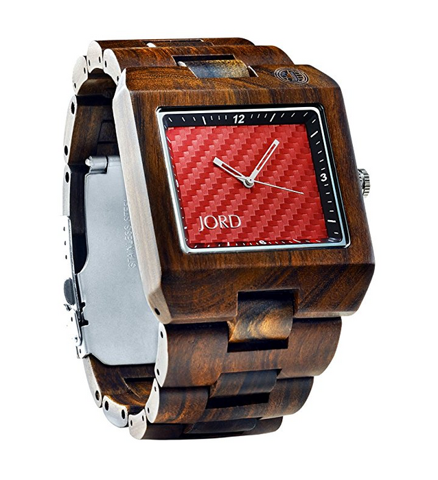 Mens Square Wood Watch by Jord - Delmar Series - Assorted Woods