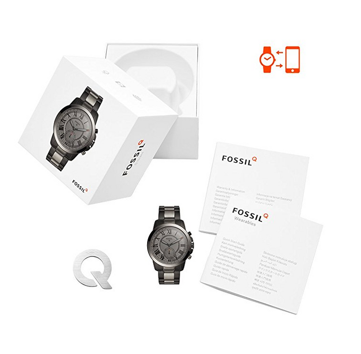 Stainless Steel Smoke Black Hybrid Smart Watch for Men by Fossil