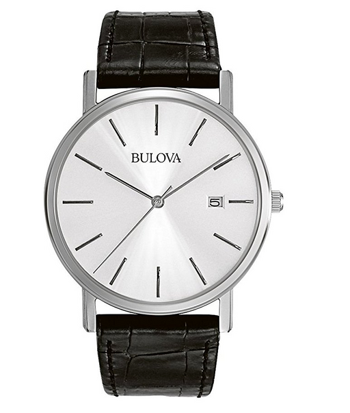 Black Leather Dress Watch for Men by Bulova