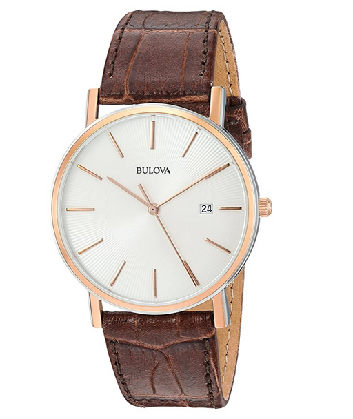 Brown Leather Dress Watch for Men by Bulova